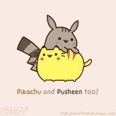 Pikachu and Pusheen so cute! Nyan Cat, Chat Kawaii, Kawaii Cat, Gif Pusheen, Kawaii Drawings, Cute Drawings, Cute Pokemon, Grumpy Cat, Crazy Cats