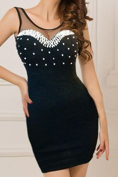 Black Contrast Sheer Mesh Bodycon Dress