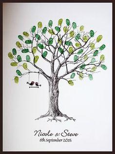 Details about Large Personalised Wedding Fingerprint / Thumbprint Tree…