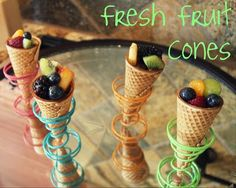 Fruit cones! and I love the holders! It's a snack or a breakfast or a dessert...oh, yum!