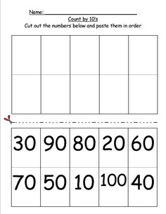 Counting by 10's cut 'n paste - 1st Grade Find more fun and fabulous worksheets at www.Agnitus.com