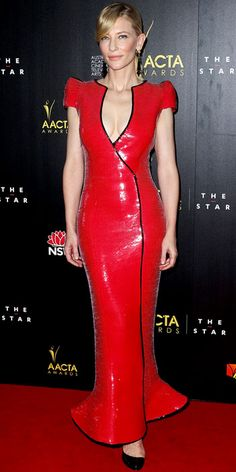 Cate Blanchett struck a pose at the AACTA Awards in a sequin Armani Privé gown, tassel earrings and patent leather pumps.