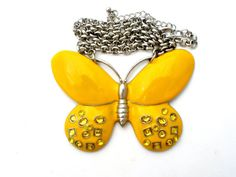 Huge Yellow Rhinestone Butterfly Necklace by TheJewelryLadysStore