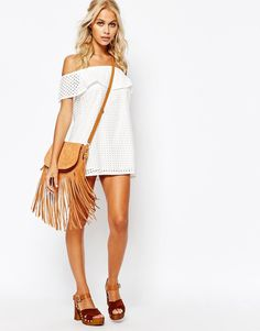 Asos Fashion Union Crop Layer Off-The-Shoulder Dress on ShopStyle