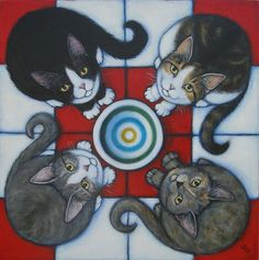 4 Hungry Cats  - Heidi Shaulis - Oil on canvas.