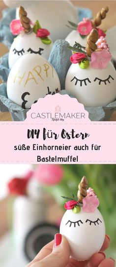 DIY Einhorneier / Unicorneggs These sweet unicorn eggs are so easy that even muffle fans can get it Unicorn Egg, Diy Unicorn, Christmas Trends, Christmas Holidays, Christmas Ornaments, Easter Table Decorations, Easter Printables, Easter Brunch, Egg Decorating