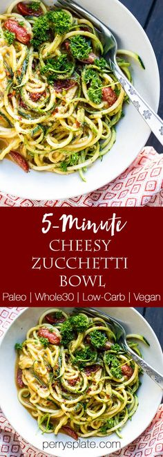 5-Minute Cheesy Zucchetti Bowls - a zippy little lunch bowl that's vegan, paleo, low-carb, and Whole30 friendly! | Zoodle recipes | zucchini recipes | dairy-free recipes | perrysplate.com