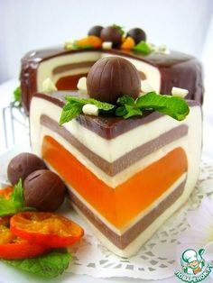 """Шоколадно-мандариновый торт """"Вкус праздника"""" - кулинарный рецепт"""
