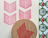 geometric rubber stamp - chevron rubber stamp - hand carved