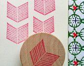 geometric rubber stamp - chevron rubber stamp - hand carved rubber stamp - hand carved stamp - mounted - no2