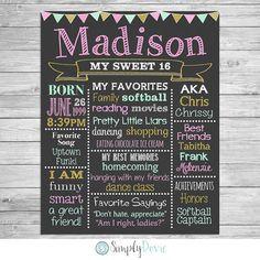 Sweet 16 Birthday Chalkboard Poster of Favorite by SimplyDovie