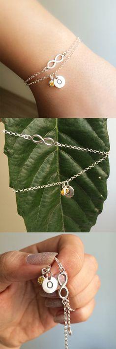 tiny personalized bracelet - silver personalized bracelet - infinity silver bracelet - chain silver bracelet - custom and infinity bracelet.By LalipArt
