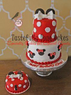 Red and White Polka Dot Mini Mouse Cake and Smash Cake.