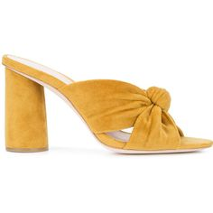 Loeffler Randall top knot mules (10 265 UAH) ❤ liked on Polyvore featuring shoes, yellow, mule shoes, loeffler randall, yellow shoes, knot shoes and loeffler randall shoes