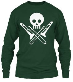 One of our most popular designs!  A favorite of trombone players everywhere.  The Skull and Trombones.  Now in a long sleeve t-shirt.Featured in the thumbnail is white on black, but it is available on 11 different colors.Enjoy!