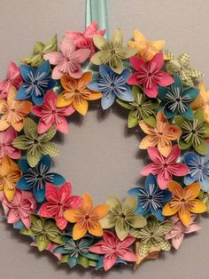 Origami Paper Flower Wreath 12// Wedding/ Birthday/