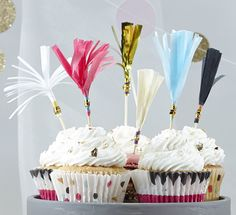 Ginger Ray Tassle Cupcake Topper Paper Decoration (Pink, Blue, White & More) - Confetti Party