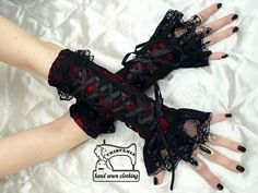 gothic arm warmers fingerless gloves corset style