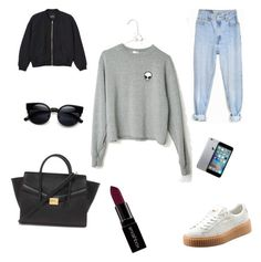"""""""Sans titre #1"""" by vrouthiau ❤ liked on Polyvore featuring Levi's, Puma, Monki, Forever 21, Smashbox, women's clothing, women, female, woman and misses"""