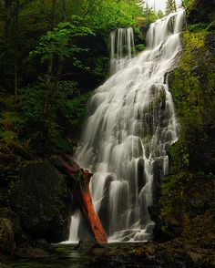 Jerry Falls on Henline Creek (a tributary of Little N Santiam River) Opal Creek Wilderness. There are many pretty waterfalls in this canyon, but they can only be reached by canyoneering