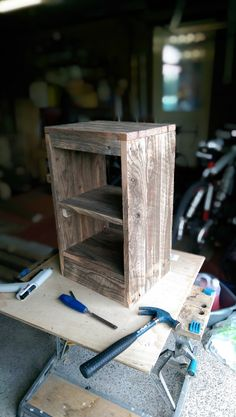 rustic pallet wood bedside table by AMCfurniturestudio on Etsy, £50.00