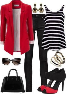 All about that red blazer. The rest of the outfit's cool too, except the shoes. Fall Outfits, Casual Outfits, Cute Outfits, Fashion Outfits, Dress Outfits, Womens Fashion, Striped Outfits, Trendy Fashion, Fashion Shoes