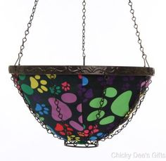 Toland Home Garden Puppy Paws 14-Inch Hanging Planter dog cat paw print