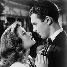 "Katherine Hepburn and James Stewart in ""The Philadelphia Story."""
