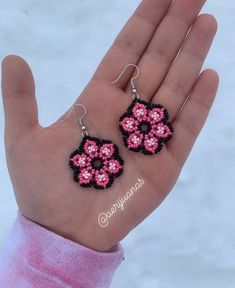 Jewelry OFF! Excited to share this item from my shop: Pink Black Huichol Beaded Earrings Seed Bead Earrings Flower Earrings Beaded Jewelry Women's Jewelry Boho Beadwork Seed Bead Jewelry, Seed Bead Earrings, Flower Earrings, Beaded Earrings, Boho Jewelry, Seed Beads, Beaded Jewelry, Crochet Earrings, Handmade Jewelry
