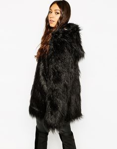 Image 2 ofStory Of Lola Hooded Fluffy Faux Fur Coat