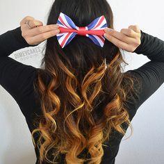 Union Jack Flag Hair Bow - Dimeycakes - Hair Bows, Cases, & Apparel