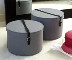 Merveilleux Grey Hat Box With Leather Strap | Hat Boxes For Sale   Tidy Hat Boxes