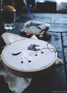 mini zebra embroidery by yumiko higuchi