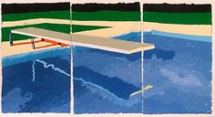 Three-Panel Diving Board, 1978 colored and pressed paper pulp, 51x96 in.