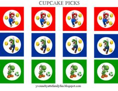 Free mario birthday printables - cake toppers, coin boxes, party favors, etc.
