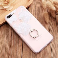 Sexy Transparent Mandala Lace Cherry Vintage Flower Stand Case For iPhone