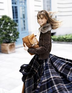 flannel maxi.  suede jacket with fur collar.  oversized leather clutch.