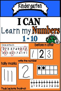 This booklet is a great hands on ready to go printable. Each page gives students practice in number recognition. Subtraction Kindergarten, Number Sense Kindergarten, Kindergarten Themes, Kindergarten Learning, Numbers 1 10, Writing Numbers, Number Drawing, Tally Marks, Number Recognition