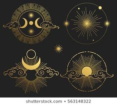 Set of decorative design elements. Moon, sun, planets and stars. Set of decorative design elements. Moon, sun, planets and stars. Star Tattoos, Hand Tattoos, Tattoo Grafik, Art Deco Tattoo, Moon Sun Tattoo, Moon Icon, Ornamental Tattoo, Masonic Symbols, Sun And Stars