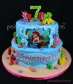 Torta in pasta di zucchero della Sirenetta Little Mermaid sugar cake