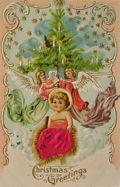 Angels with Tree & Baby Jesus ~ Vintage Christmas Postcard