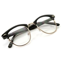 Optical Quality Horned Rim Clear Lens RX-able Half Frame Horn Rimmed Glasses Cute Glasses Frames, Half Frame Glasses, Womens Glasses Frames, Fake Glasses, Cool Glasses, New Glasses, Glasses Online, Glasses Style, Ray Ban Glasses