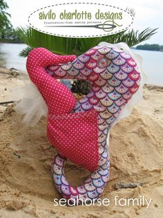 Seahorse Family -  3 sizes to make - easy to follow pdf sewing pattern - lovey stuffed toy - Instant Download. $4.00, via Etsy.