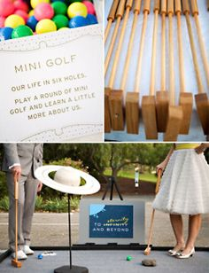this is such a cute idea! this couple wasnt big on dances so they had an array of activities for their guest including a six round mini golf course about their life. such an adorable idea.