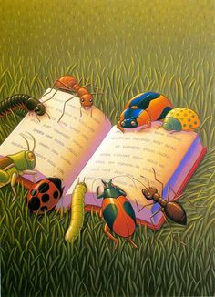 Cartoon insects reading an open book on a grassy lawn, by Erika LeBARRE Art And Illustration, Illustrations, I Love Books, Books To Read, My Books, Reading Art, I Love Reading, Reading Garden, Bisous Gif
