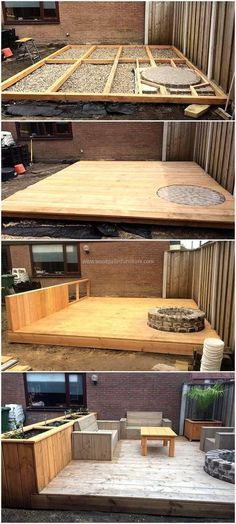 DIY Wood Pallets Made Terrace Project #WoodProjectsDiyYards #woodworkdecor
