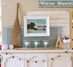 Winter Mantel with DIY Pine Cone Pom Pom Garland by The Happy Housie