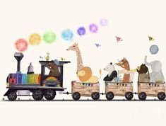 Childrens Art Print featuring the painting The Rainbow Train by Bri Buckley #art #decor #homedecor #kidsroom #playroom #painting