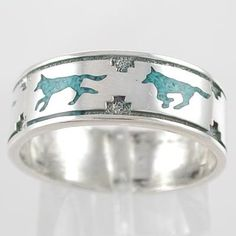 Southwestern Native American Style Running Wolf Band Ring in Sterling Silver with Turquoise Chip Inlay for Men or Women, size 7, #11108 | http://www.bikeraa.com