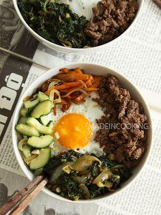 Bibimbap boeuf-porc, recette coréenne